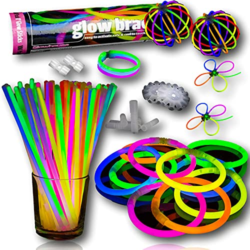 The Glowhouse Premium Glow Stick Bracelets (Mixed) 100 Pack from The Glowhouse