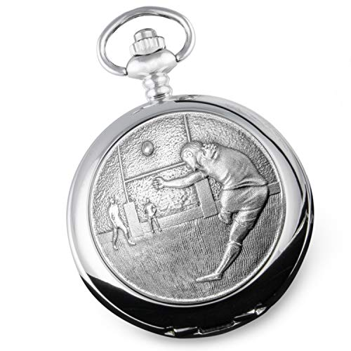 De Walden Mens 50th Birthday Gift Mother of Pearl Rugby Engraved Pocket Watch 50 from De Walden