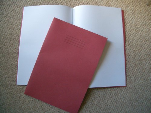 A4 Plain Single School Exercise Book Blank, Red Cover, 64 Pages x 1 from The Home Fusion Company