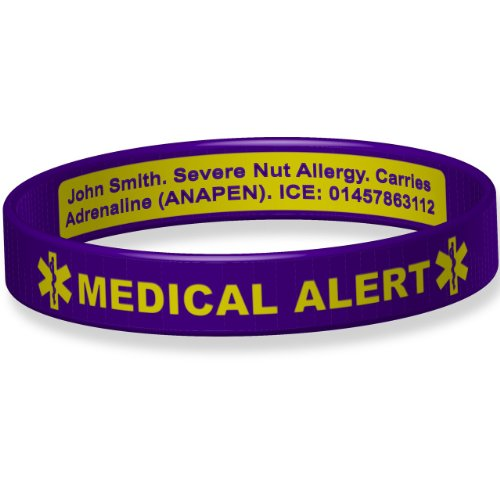 Deluxe Engraveable Silicone Bracelet (Inside Engraving) Purple Toddler 14cm from The ID Band Company