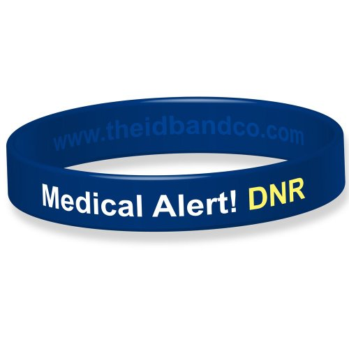 Medical Alert! DNR Silicone Wristband - 18cm - Blue IDBDNR from The ID Band Company