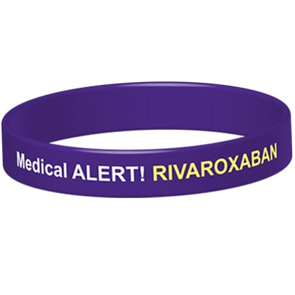 Medical Alert! Rivaroxaban Medicated Silicone Wristband - IDBRIV (X-Large (21cm), Purple) from The ID Band Company