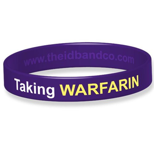Medical Alert! Warfarin Medicated Silicone Wristband - 20.2cm - Purple B0326 from The ID Band Company