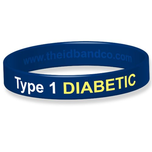 The ID Band Company Type 1 Diabetic Medical Alert Silicone Wristband, Small, Blue from The ID Band Company