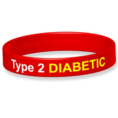 Type 2 Diabetic Silicone Wristband - 18cm - Red B3273 from The ID Band Company