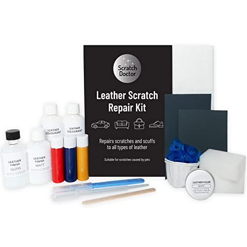 Leather CAT SCRATCH Repair Kit. Easy to Use. Complete with Filler & Colour. (Grey) from The Leather Clinic