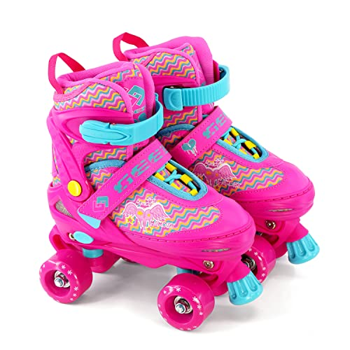 The Magic Toy Shop Kids Adjustable 4 Wheel Quad Roller Skates Boots Childrens Rollers (Pink, Small/UK 11-1) from The Magic Toy Shop