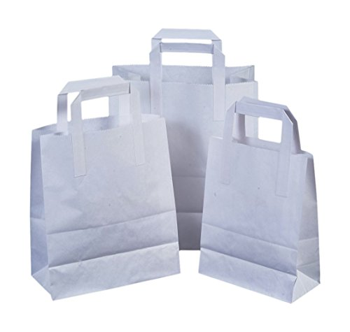 4x The Paper Bag Company 18 x 23 x 9 cm Paper Carrier Bags with Flat Handles, Pack of 15, White from The Paper Bag Company