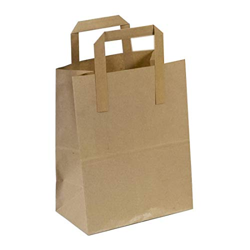 The Paper Bag Company 18 x 23 x 9 cm Paper Carrier Bags with Flat Handles, Pack of 100, Brown from The Paper Bag Company