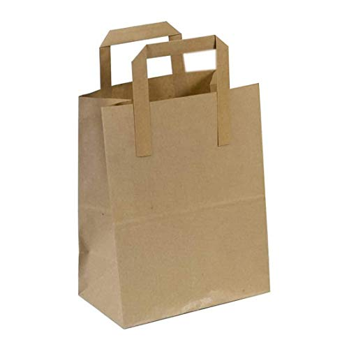 The Paper Bag Company Brown Paper Carrier Bags with Flat Handles, Pack of 25 from The Paper Bag Company