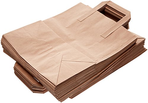 The Paper Bag Company Brown Paper Carrier Bags with Flat Handles, Pack of 50 from The Paper Bag Company