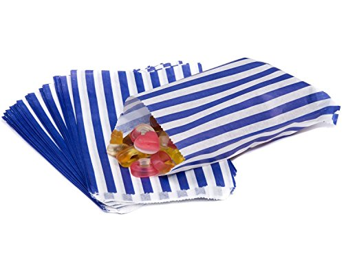 The Paper Bag Company Candy Stripe Paper Bags, 5 x 7 Inches - Blue, Pack of 100 from The Paper Bag Company