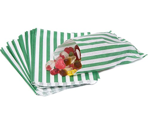 The Paper Bag Company Candy Stripe Paper Bags, 5 x 7 Inches - Green, Pack of 100 from The Paper Bag Company