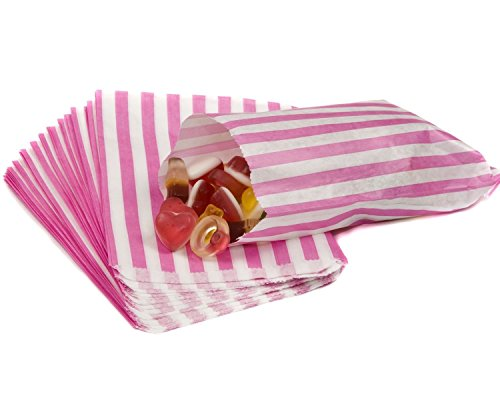 The Paper Bag Company Candy Stripe Paper Bags, 5 x 7 Inches - Pink, Pack of 100 from The Paper Bag Company