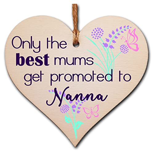 The Plum Penguin Handmade Wooden Hanging Heart Plaque perfect for new Nannas fun special keepsake from The Plum Penguin