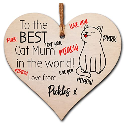 The Plum Penguin Personalised Handmade Wooden Hanging Heart Plaque great for cat lovers cat mums pet keepsake from The Plum Penguin