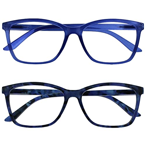The Reading Glasses Company Bright Blue & Blue Tortoiseshell Readers 2 Pack Large Mens Womens RR51-33T +3.50 from The Reading Glasses Company