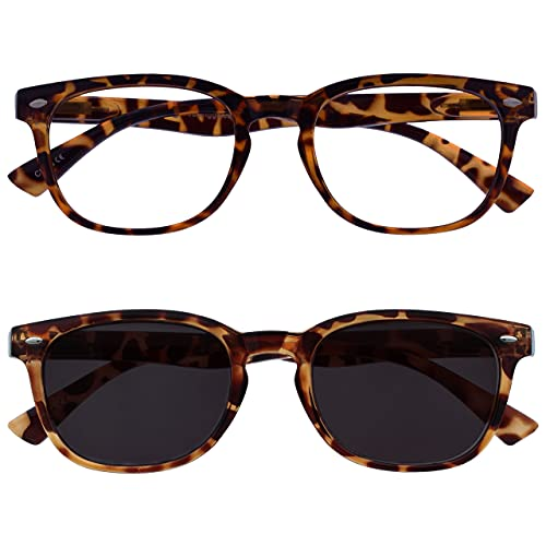 The Reading Glasses Company Brown Tortoiseshell Readers With Matching Sun Reader Twin Pack Mens Womens RS14-2T +1.50 from The Reading Glasses Company