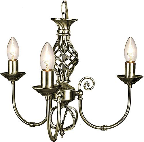 Traditional Classic Knot Twist 3 Light Antique Brass Ceiling Light Fitting / Lighting from The Shade Boutique