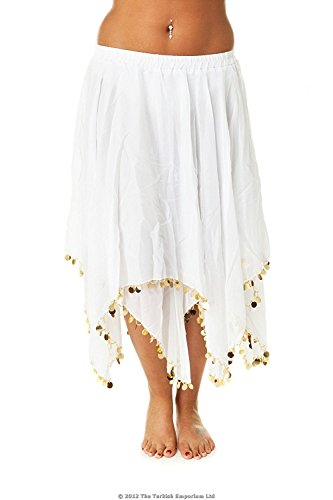 Decorated Belly Dance Skirt (WHITE/GOLD) from The Turkish Emporium Ltd