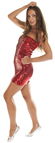 Elasticated Sequined Dress Stretch Glittering Fitted Tube Top Party Mini Dress Halloween Costume (Red) from The Turkish Emporium Ltd