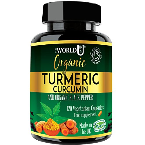 Ultra Pure Organic Turmeric Curcumin and Organic Black Pepper Capsules - High Strength Food Supplement - 120 Veg Capsules - Soil Association Organic Certified and Vegetarian Society Approved - Made in UK from The World in U