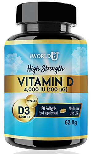 Vitamin D3 1000IU 365 Softgels Rapid Absorption Vitamin D for Maintaining Normal Bones and Teeth, Muscle Function and Immune System. Made in The UK. Non-GMO. Gluten and Dairy Free. from The World in U