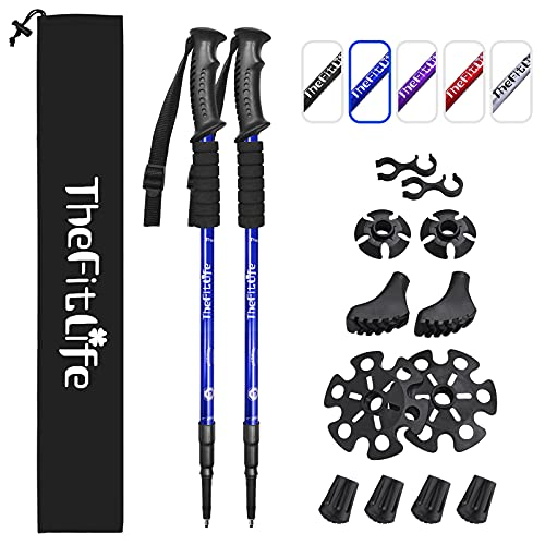 TheFitLife Hiking Walking Trekking Poles - 2 Pack With Antishock And Quick Lock System, Telescopic, Collapsible, Ultralight For Camping, Mountaining, Backpacking, Walking - Metallic Jazz Blue from TheFitLife