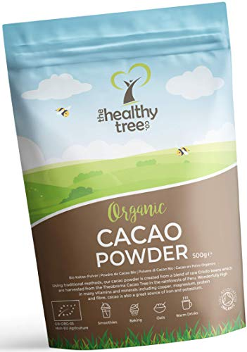 TheHealthyTree Company Organic Raw Cacao Powder - High in Protein, Magnesium, Fibre and Potassium - Great in Yoghurt, Smoothies & Baking - Cacao Powder (500g) from TheHealthyTree Company