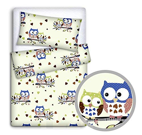 BABY BEDDING SET PILLOWCASE + DUVET COVER 2PC TO FIT CRIB 80x70cm (Owls Cream) from TheLittles24