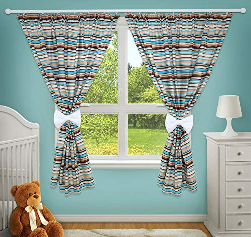 LUXURY DECORATIVE CURTAINS FOR BABY ROOM MATCHING WITH OUR NURSERY BEDDING SETS (Brown Stripes) from TheLittles24