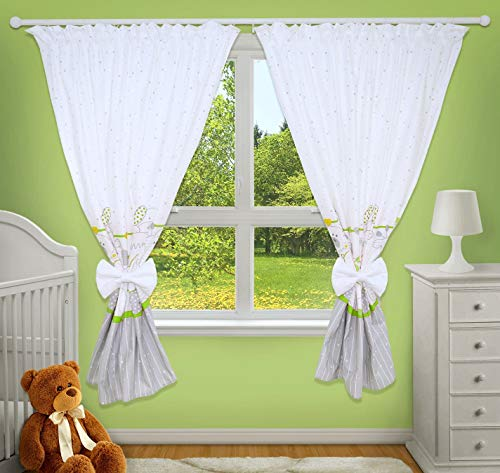 LUXURY DECORATIVE CURTAINS FOR BABY ROOM MATCHING WITH OUR NURSERY BEDDING SETS (Zoo green) from TheLittles24