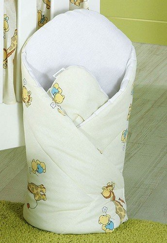 LUXURY NEWBORN BABY SWADDLE WRAP SLEEPING BLANKET / DUVET / BAG (Giraffe ecru) from TheLittles24