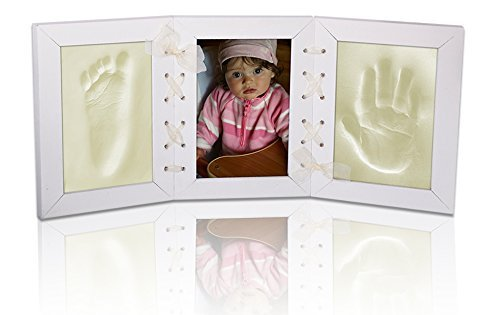 NEW BABY WHITE PICTURE FRAME FOOT & HAND PRINT CLAY CASTING KIT LOVELY GIFT from TheLittles24