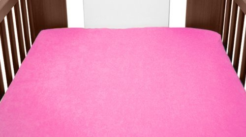 Terry Towelling Fitted Sheet 140x70 Nursery Baby Cot/ Cotbed/ Mattress/ Frotte (Pink) from TheLittles24
