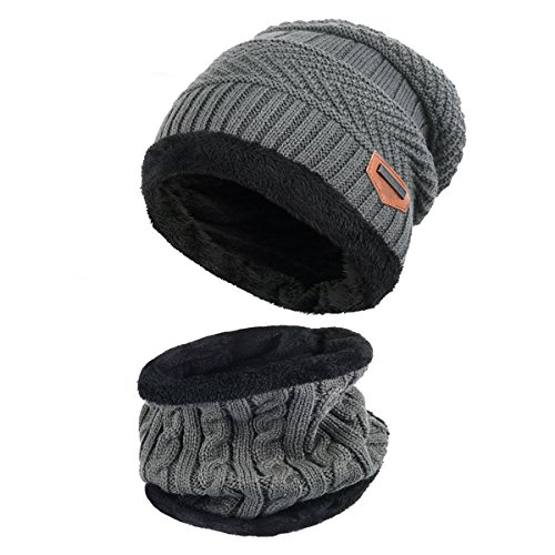 Thenice Childrens/Kids Warm Knitted Beanie Hat and Circle Scarf Set (Grey) from Thenice