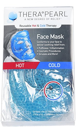 TheraPearl Face Mask, Reusable Hot and Cold Therapy Mask with Gel Beads, Flexible Non Toxic Hot and Cold Compression for Acne, Best Spa Wrap for Swollen Face, Puffy Eyes, Relaxation, Stress Relief from Therapearl