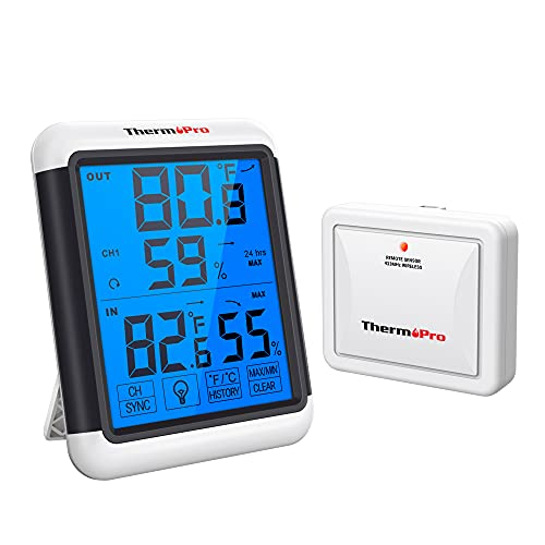 ThermoPro TP65 Digital Wireless Remote Thermo-hygrometer, Thermometer Hygrometer Gauge, Indoor/Outdoor Humidity and Temperature Monitor for Home Comfort, Min/Max Records, Larger Backlit Display from ThermoPro
