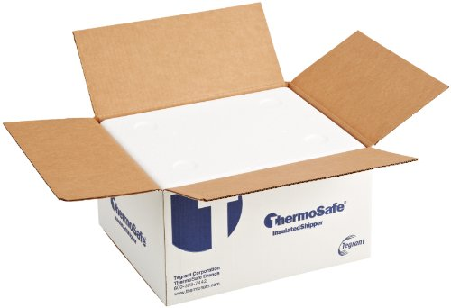 "ThermoSafe 664 EPS Foam Multi Purpose Insulated Shipper Container with Corrugated Carton, Thin Wall, 16.5"" L x 13.75"" W x 8.25"" H (Case of 6) from Thermosafe"