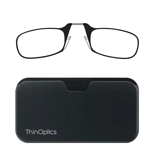 ThinOPTICS Reading Glasses + Black Universal Pod Case | Classic Collection, Black Frames, 2.00 Strength, Lifetime Guarantee from ThinOptics
