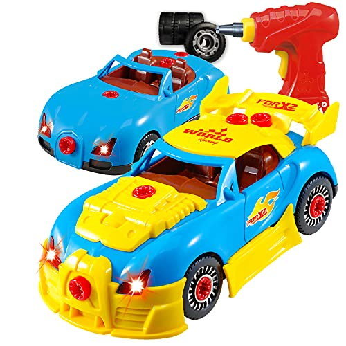 Take Apart Toy Racing Car – Construction Toy Kit For Kids – Build Your Own Car Kit (Version 2!!) – 30 Take Apart Pieces With Realistic Sounds & Lights By ThinkGizmos (Trademark Protected) from Think Gizmos