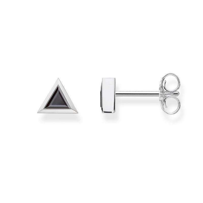 Ladies Thomas Sabo Sterling Silver Glam & Soul Black Triangle Stud Earrings from THOMAS SABO Jewellery