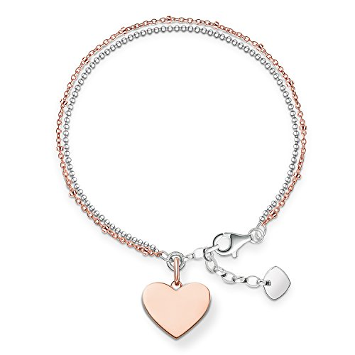 Thomas Sabo Women-Bracelet Love Bridge 925 Sterling Silver 18k rose gold plating Length from 16 to 19.5 cm LBA0102-415-12-L19,5v from Thomas Sabo