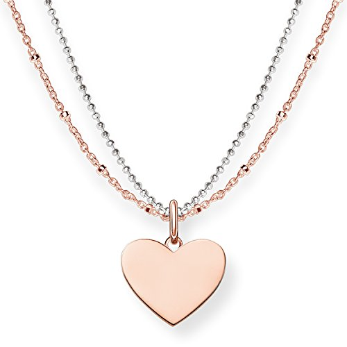 Thomas Sabo Women's Necklace with Pendant Heart Necklace Silver Gold-Plated 42cm 1g3nmJFZy