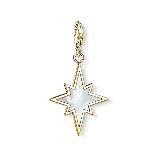 Thomas Sabo Women's 925 Sterling Silver Charm Star Mother of Pearl Club Yellow Gold Plating Pendant 1539-429-14 from Thomas Sabo
