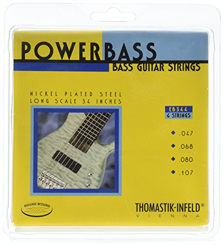 "Thomastik Strings for Electric Bass Power Bass Magnecore Round Wound Hexcore Set EB344 4-string roundwound long scale 34"" from Thomastik"