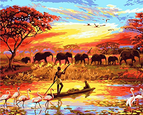 TianMai New Paint by Number Kits - African Scenery Elephant Cranes Giraffe 16x20 inch Linen Canvas Paintworks - Digital Oil Painting Canvas Kits for Adults Children Kids Decorations Gifts (No Frame) from TianMai