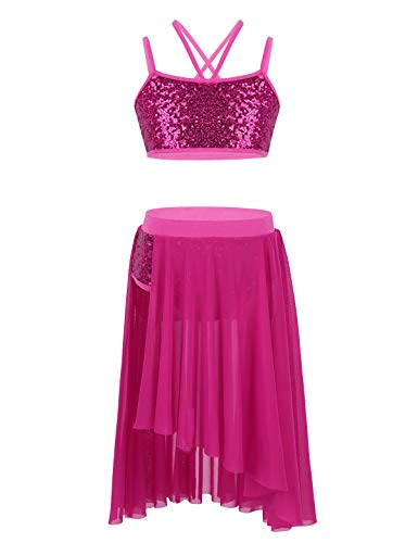 TiaoBug 2 Pieces Crop Top with Tulle Skirt Set Kids Girls Camisole Sequins Ballet Lyrical Latin Dress Dance Costume Rose Red 8-10 Years from TiaoBug