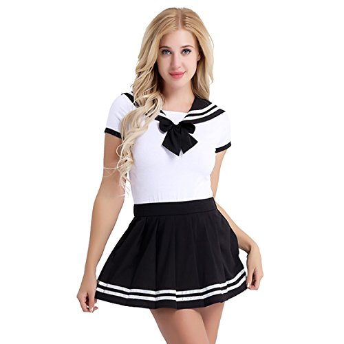 TiaoBug Women Adult Short Sleeve Button Crotch Romper Pajamas Cosplay Magical Girls Pleated Skirt Set Black XL from TiaoBug