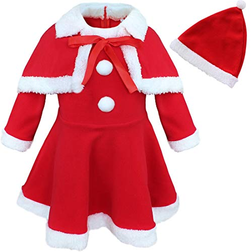TiaoBug Baby Girls Princess Christmas Santa Claus Party Costume Top Dress with Shawl Hat Red 12 Months from TiaoBug